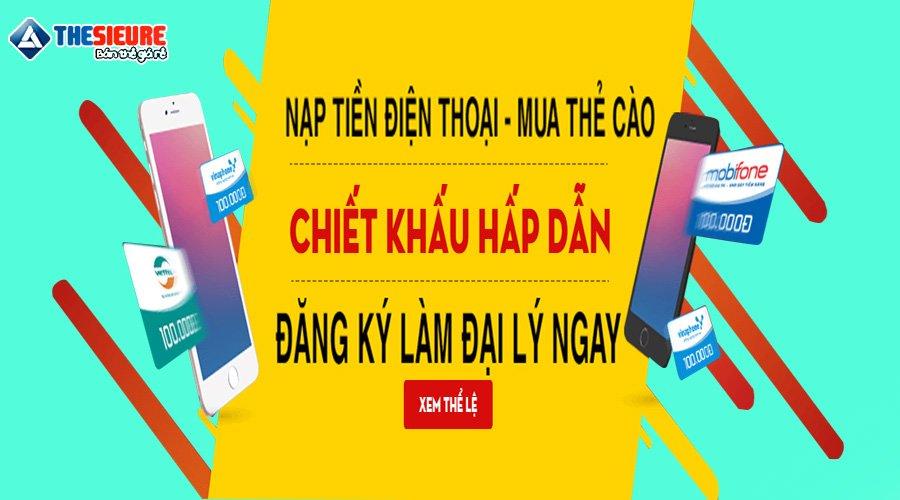 Tuyển đại lý c1 gạch cước, nạp tiền Viettel, Vina, Mobi, Vietnammobi, FTTH, SMS Game
